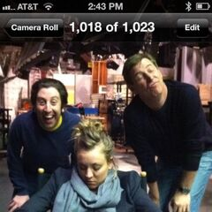 The guys fool around on set as Kaley still sleeps in her chair