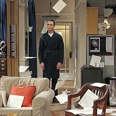 Sheldon throws the useless roommate agreement changes into the air.