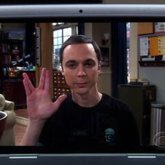 Sheldon's recorded farewell. The he vanishes.