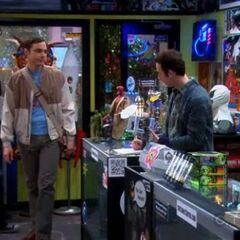 Sheldon enters the comic book store.