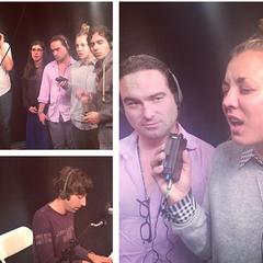 The actors recording Howard's song.