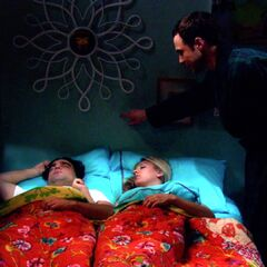 Sheldon wakes Leonard and Penny from a sound sleep
