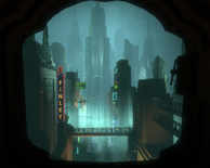 Bioshock-The Lighthouse - Finley's Eat-In Take-Out seen from Bathysphere f0379