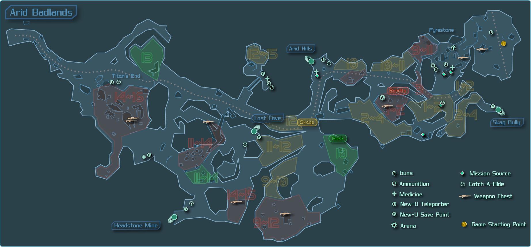 Image - The Arid Badlands Map.png   Borderlands Wiki ... Borderlands Characters Brick
