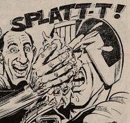 Dredd gets hit by a custard pie