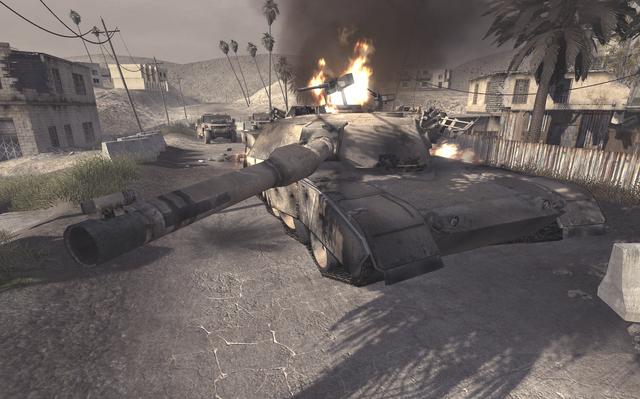 File:Destroyed Abrams Ambush COD4.png