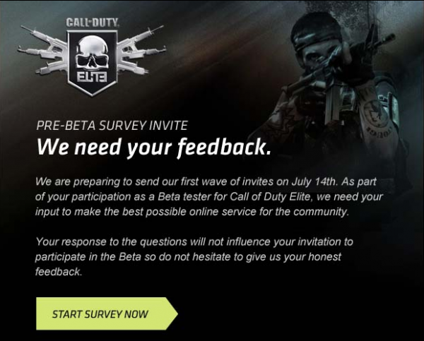 CoD ELITE pre-beta Survey