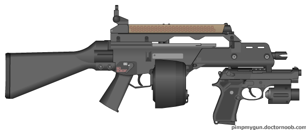 File:PMG G36c with undermount M9 and drum mag also P90 mag on top.jpg
