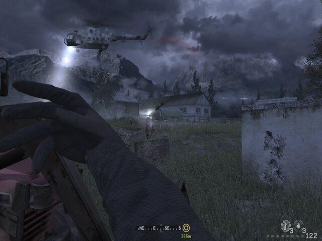 File:Throwing flashbang towards incoming enemies Hunted CoD4.jpg