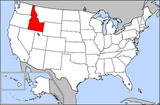 Map of USA highlighting Idaho
