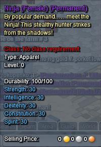 Ninja Description (Female Only)