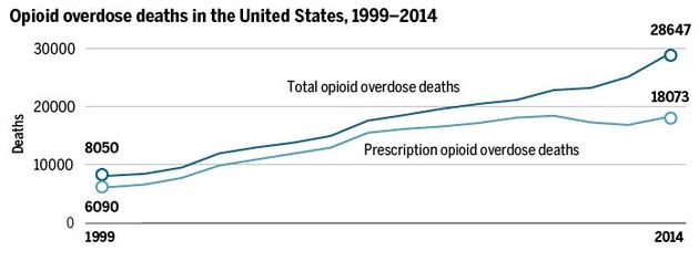 Opioid overdose deaths in the United States. 1999-2014