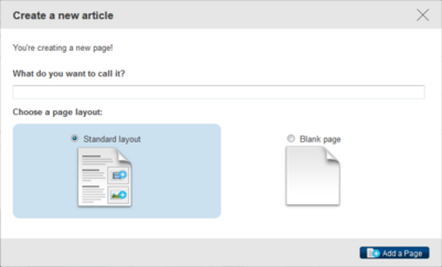 Create page dialog
