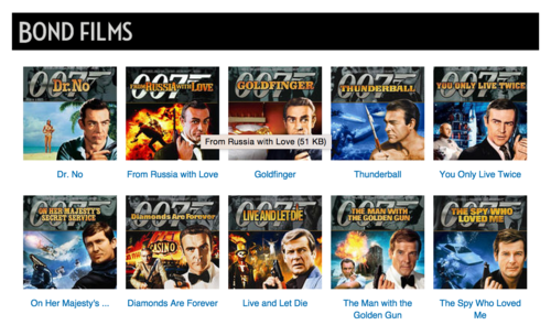 James Bond Image Navigation