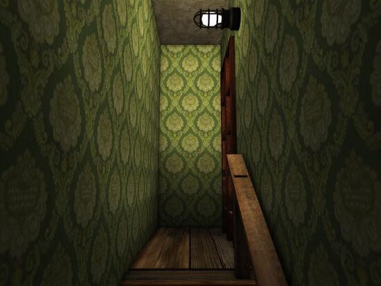 Basement - Stairs Wallpaper - Stately Crests - Green
