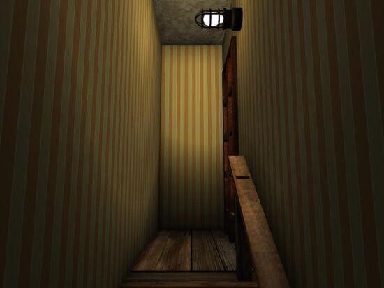 Basement - Stairs Wallpaper - Vertical Stripes - Orange