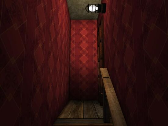 Basement - Stairs Wallpaper - Red Diamonds