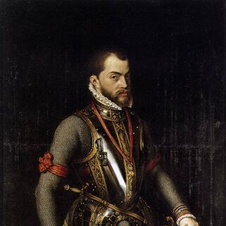 A 1566 painting of Philip II by Alonso Sánchez Coello (which appears to be the basis for his in-game model)