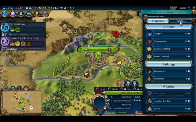 File:Civilization VI - Devs play as Brazil screenshot - City menu.jpg