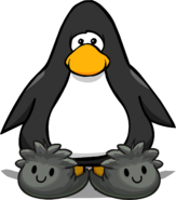Black Puffle Slippers on a Player Card