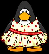 Red polka dot dress player card