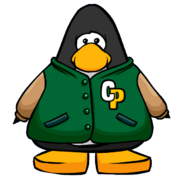 Green Letterman Jacket from a Player Card