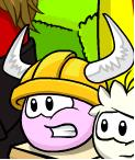 Pink puffle viking helmet