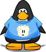White Pixel Puffle Tee on a Player Card