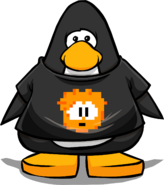 Orange Pixel Puffle Tee on a Player Card