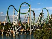 Green Incredible Hulk Coaster water cobraroll launched