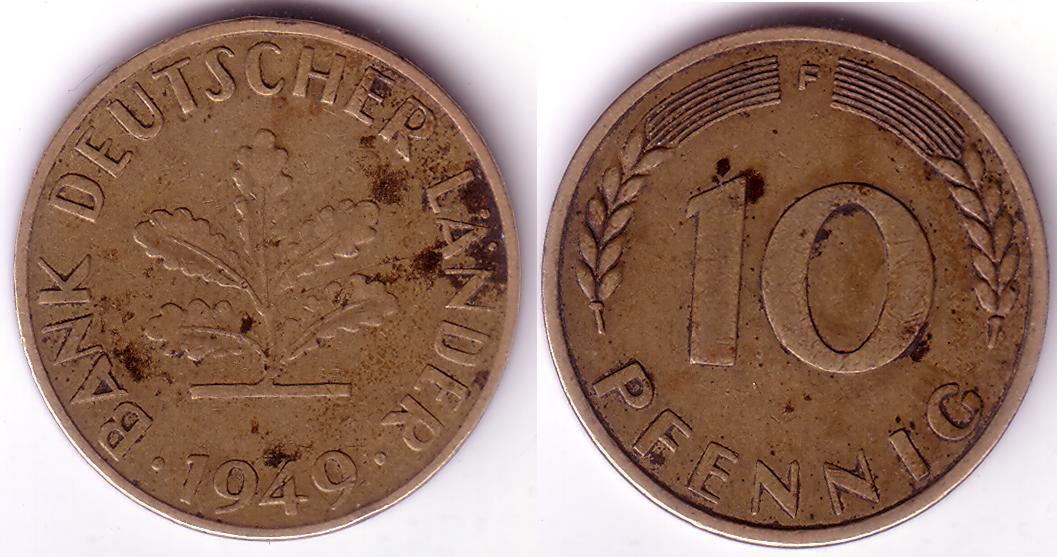 Deu Dem 1949 10 Pfennig F Coin Collecting Wiki Fandom