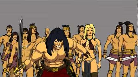 Conan Red Nails Animated Movie, battle scene - unfinished