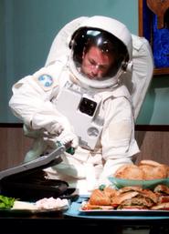 Astronaut making paninins