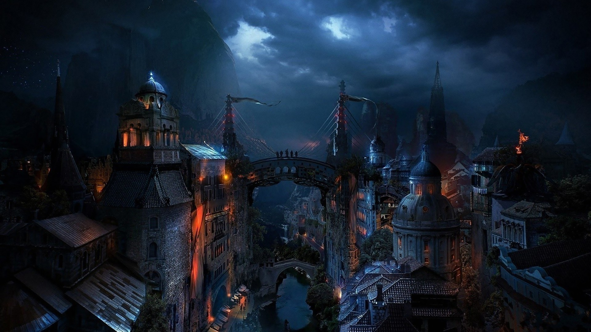 Fantasy City Wallpaper Hd: Dark-medieval-city-fantasy-hd-wallpaper-1920x1080