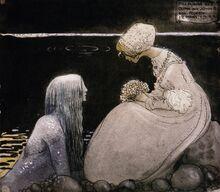 Swedish folk tales-illustrated-john bauer-agneta and the sea king-merman-mermen-1-