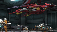 Cross Ange 07 Glaive Hilda flight mode in Arzenal hangar