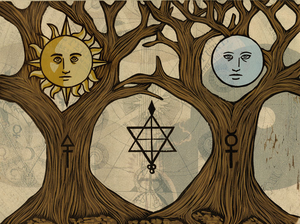 Indian sun and moon tree