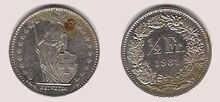 Swiss half franc 1981