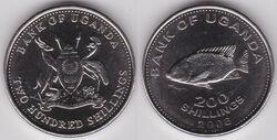 Uganda 200 shillings 2008
