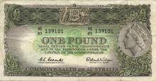 Australia pound note 1961 obv