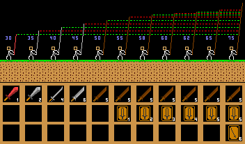Comparison of sword length and range shown in blue digits