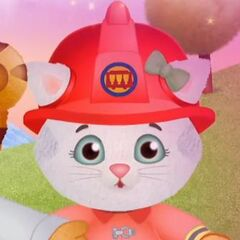 Katerina dressed as a firefighter