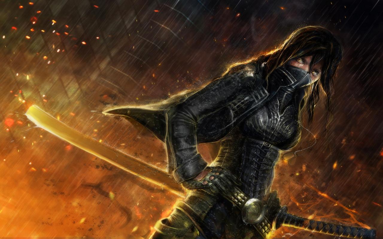 Image  Anime Warrior Ninja Girl Black Dark Eyes Female Fire Katana