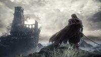 Mercenary overlooking Firelink Shrine-noscale
