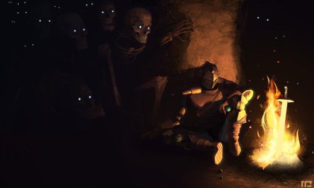 File:640x383 15594 Tomb of Giants 2d fan art dark tomb skeletons souls fantasy knight warrior picture image digital art.jpg