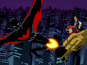 Batman chased by Jokerz
