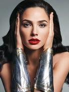 Gal Gadot wearing Wonder Woman's bracelets