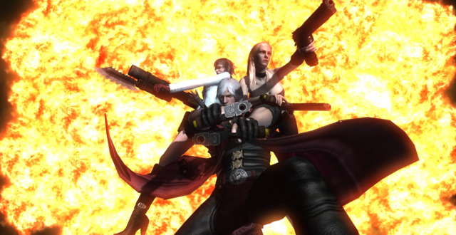 File:Dante, Lady, and Trish posing in the epiclogue (Devil May Cry 4).png