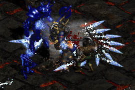 a paladin wielding a caduceus, attacking enemies with Zeal and generating Tornado and Frozen Orb procs
