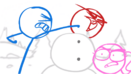 Blue punching frozen Red